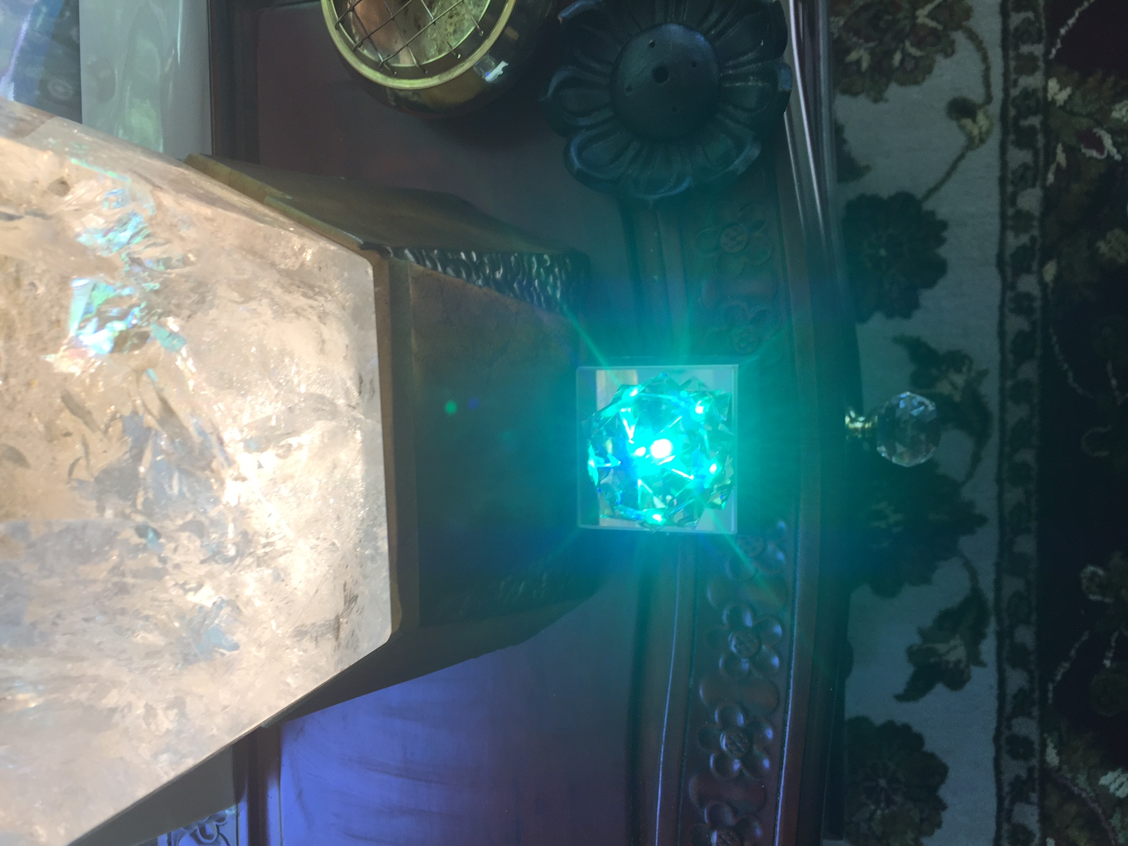 Crystal with blue light overview