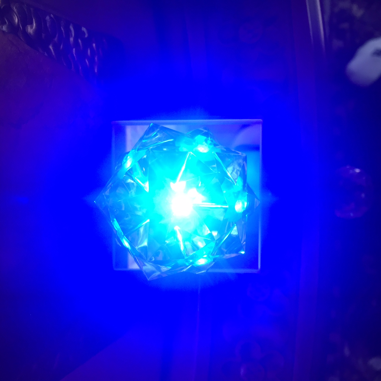 Crystal with blue light